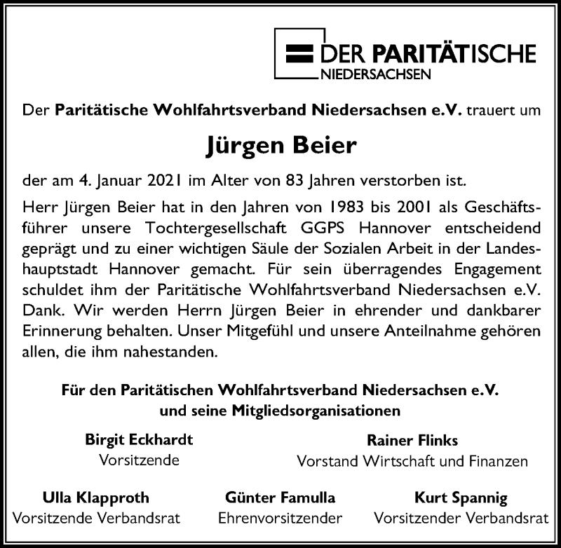 Traueranzeige für Jürgen Beier vom 09.01.2021 aus Hannoversche Allgemeine Zeitung/Neue Presse
