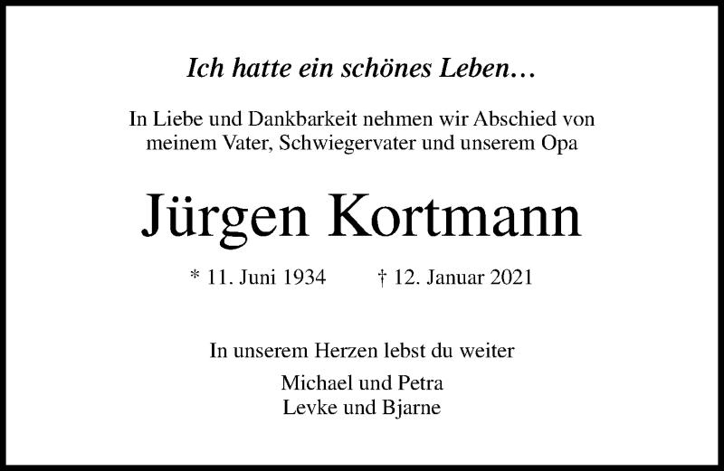 Traueranzeige von  Jürgen Kortmann