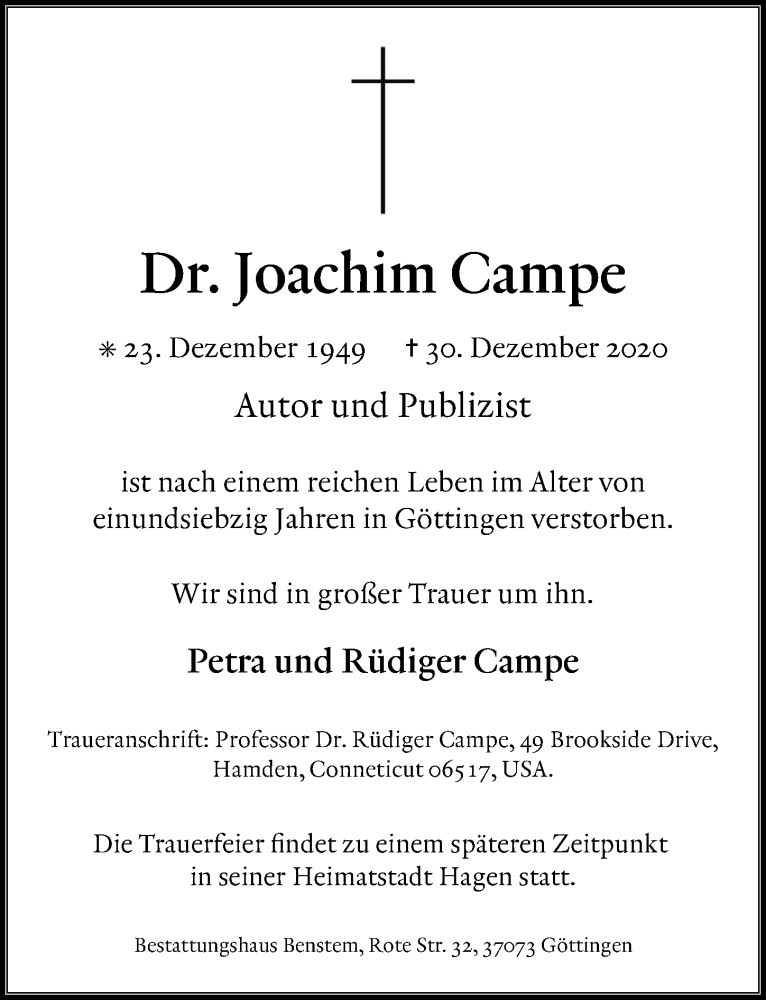 Traueranzeige für Joachim Campe vom 09.01.2021 aus Göttinger Tageblatt