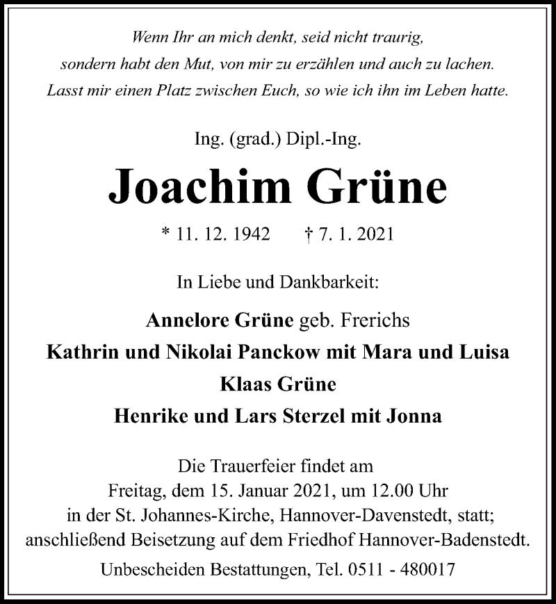 Traueranzeige für Joachim Grüne vom 13.01.2021 aus Hannoversche Allgemeine Zeitung/Neue Presse