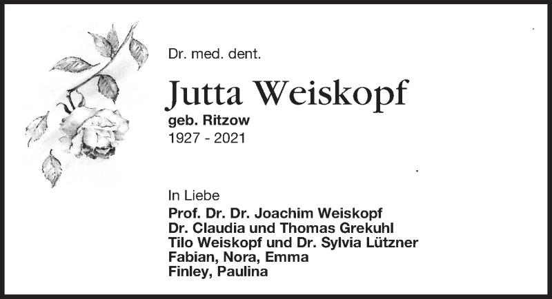 Traueranzeige für Jutta Weiskopf vom 09.01.2021 aus Leipziger Volkszeitung