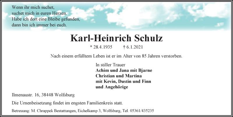 Traueranzeige für Karl-Heinrich Schulz vom 13.01.2021 aus Aller Zeitung