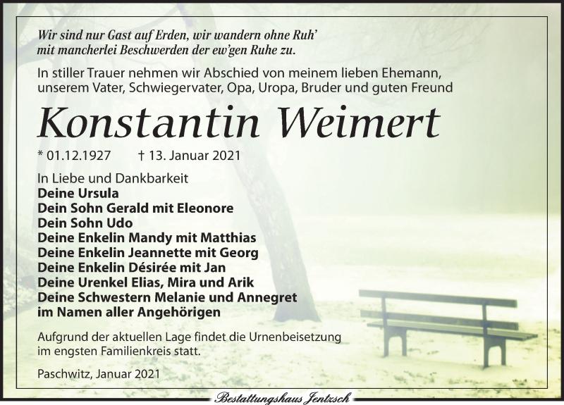Traueranzeige für Konstantin Weimert vom 16.01.2021 aus Leipziger Volkszeitung