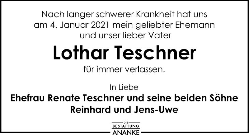 Traueranzeige für Lothar Teschner vom 09.01.2021 aus Leipziger Volkszeitung