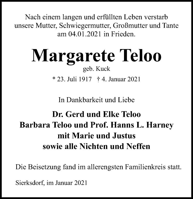 Traueranzeige für MArgarete Teloo vom 10.01.2021 aus Lübecker Nachrichten