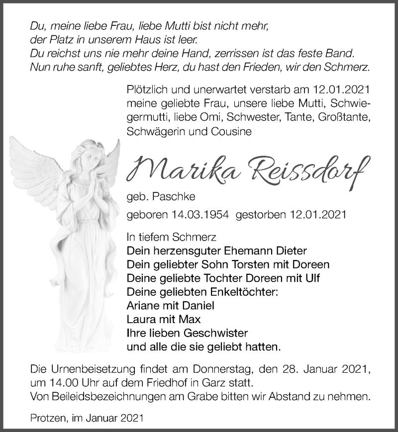 Traueranzeige für Marika Reissdorf vom 20.01.2021 aus Märkischen Allgemeine Zeitung