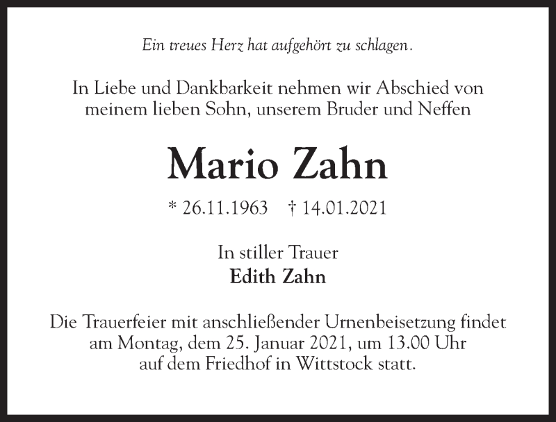 Traueranzeige für Mario Zahn vom 16.01.2021 aus Märkischen Allgemeine Zeitung