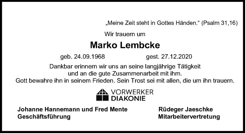 Traueranzeige für Marko Lembcke vom 10.01.2021 aus Lübecker Nachrichten