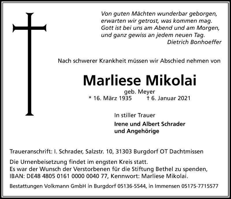 Traueranzeige für Marliese Mikolai vom 09.01.2021 aus Hannoversche Allgemeine Zeitung/Neue Presse