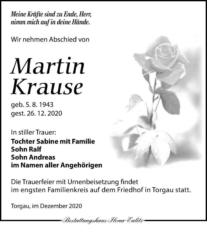 Traueranzeige für Martin Krause vom 09.01.2021 aus Torgauer Zeitung