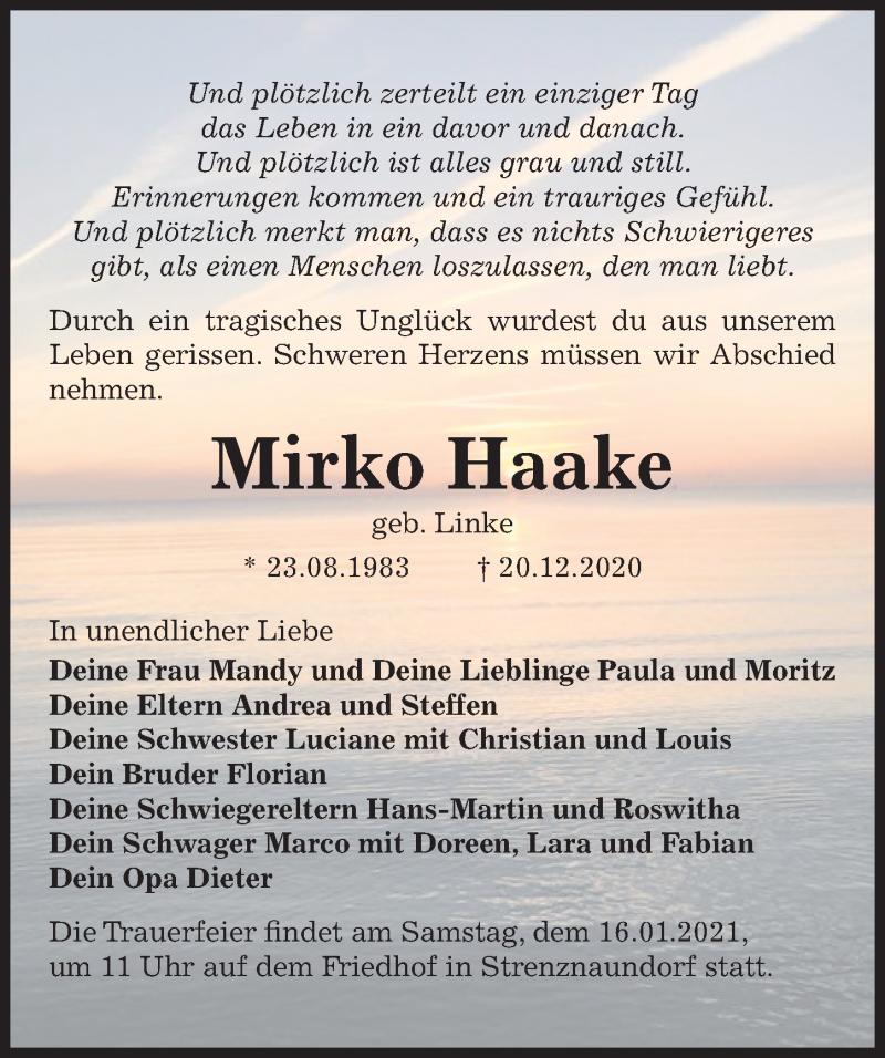 Traueranzeige für Mirko Haake vom 02.01.2021 aus Hannoversche Allgemeine Zeitung/Neue Presse