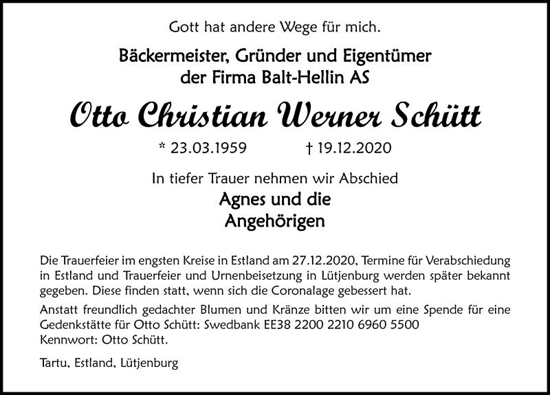Traueranzeige für Otto Christian Werner Schütt vom 02.01.2021 aus Ostsee-Zeitung GmbH
