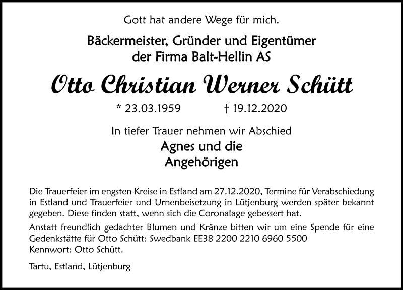 Traueranzeige für Otto Christian Werner Schütt vom 03.01.2021 aus Lübecker Nachrichten