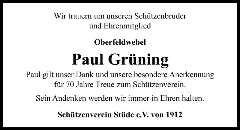 Traueranzeige für Paul Grüning vom 16.01.2021 aus Aller Zeitung