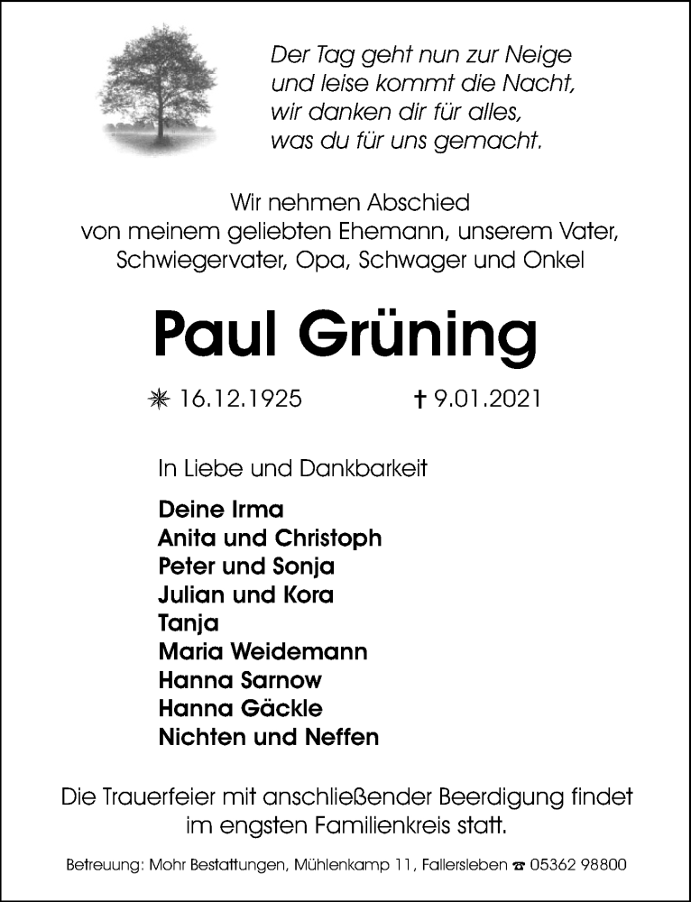 Traueranzeige für Paul Grüning vom 14.01.2021 aus Aller Zeitung