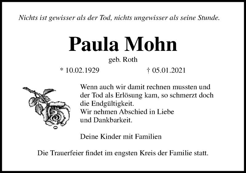 Traueranzeige für Paula Mohn vom 09.01.2021 aus Ostsee-Zeitung GmbH