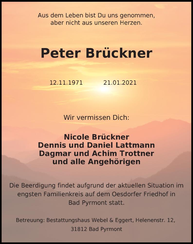 Traueranzeige von  Peter Brückner