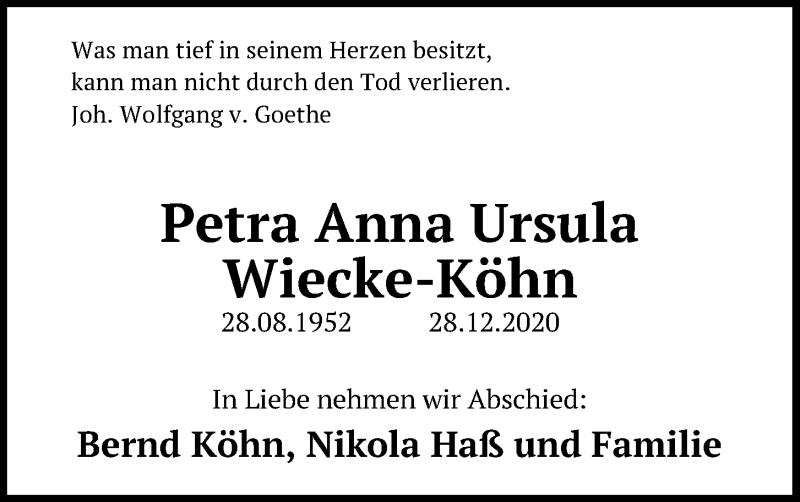 Traueranzeige für Petra Anna Ursula Wiecke-Köhn vom 09.01.2021 aus Kieler Nachrichten