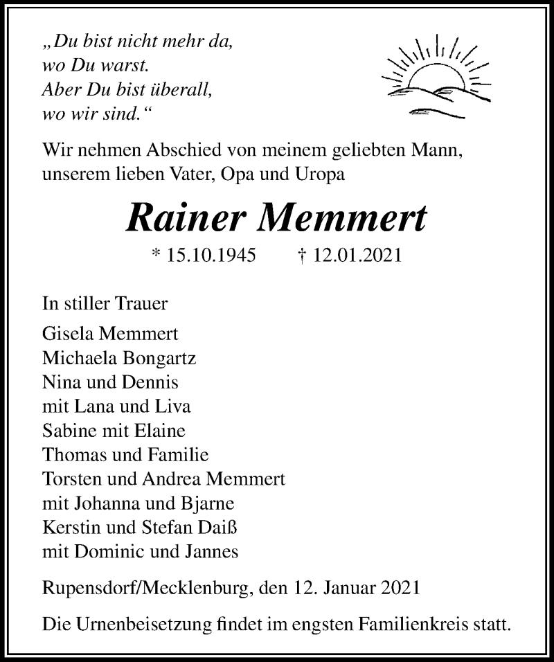 Traueranzeige von  Rainer Memmert