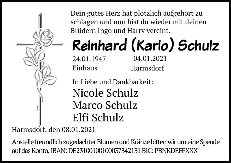 Traueranzeige für Reinhard  Schulz vom 12.01.2021 aus Lübecker Nachrichten