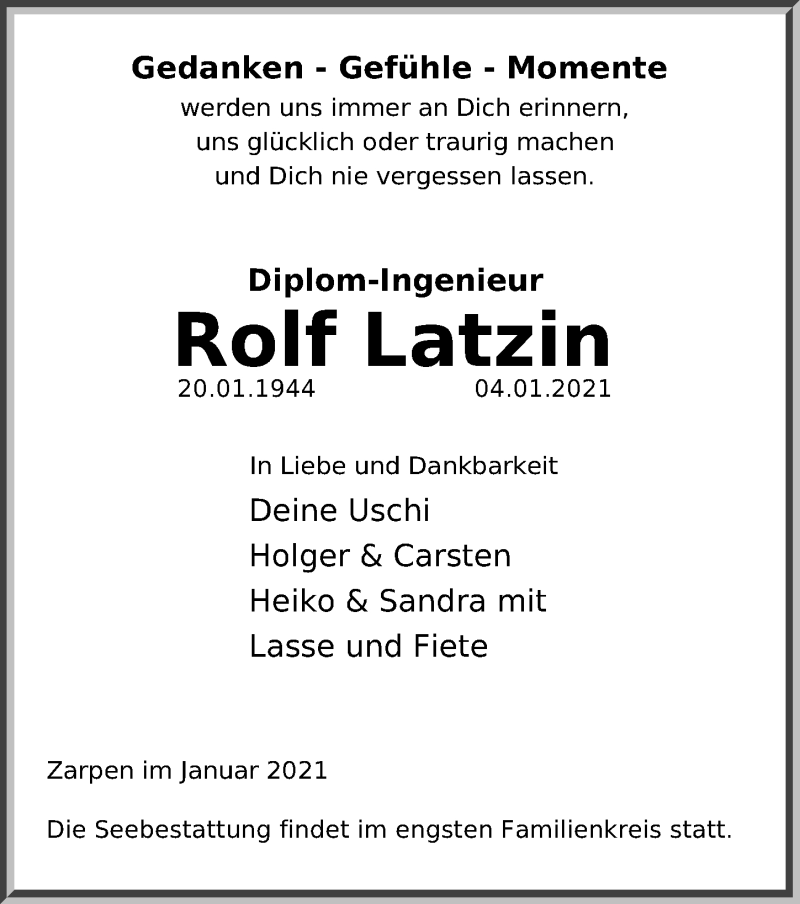 Traueranzeige für Rolf Latzin vom 10.01.2021 aus Lübecker Nachrichten