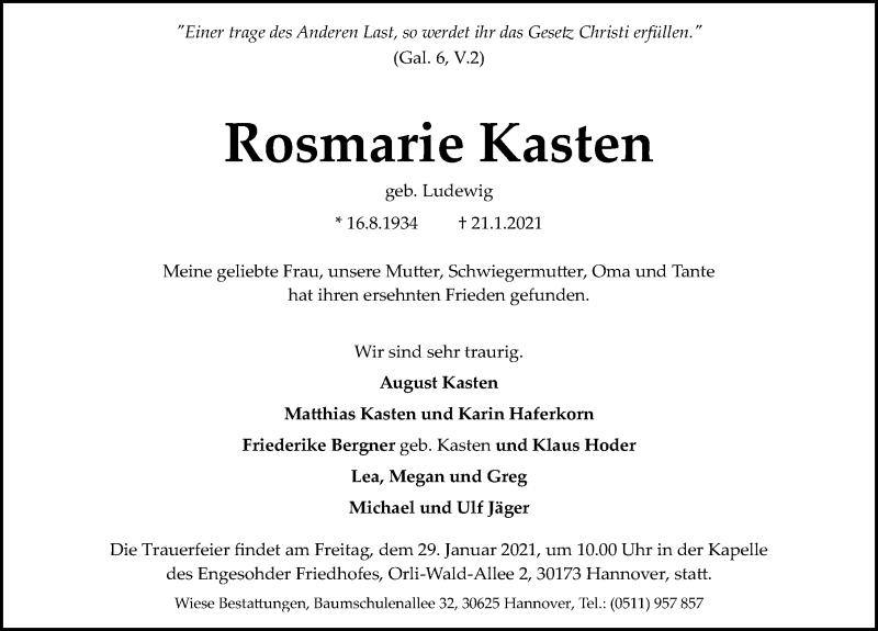 Traueranzeige von  Rosmarie Kasten