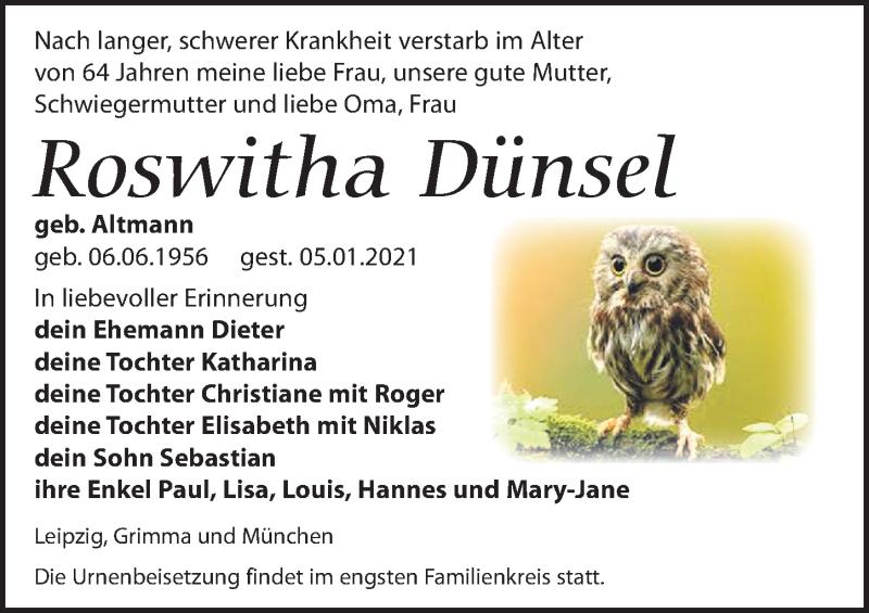 Traueranzeige für Roswitha Dünsel vom 09.01.2021 aus Leipziger Volkszeitung