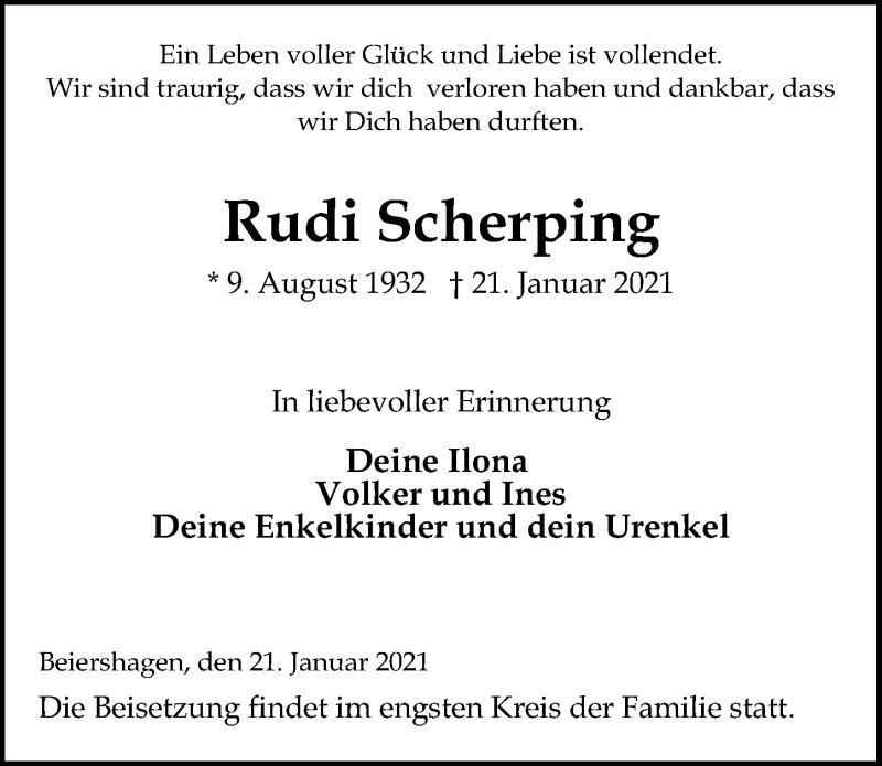 Traueranzeige von  Rudi Scherping