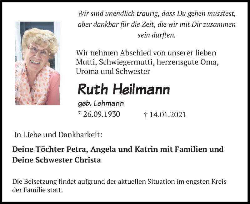 Traueranzeige für Ruth Heilmann vom 16.01.2021 aus Leipziger Volkszeitung