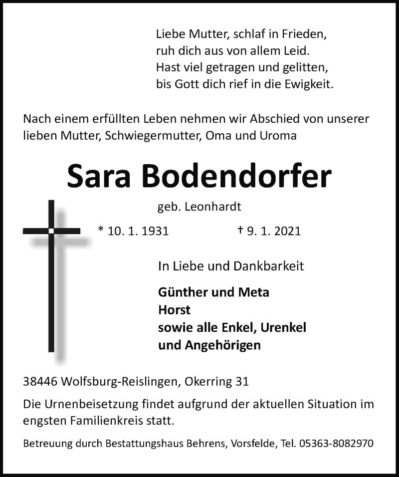 Traueranzeige für Sara Bodendorfer vom 13.01.2021 aus Aller Zeitung