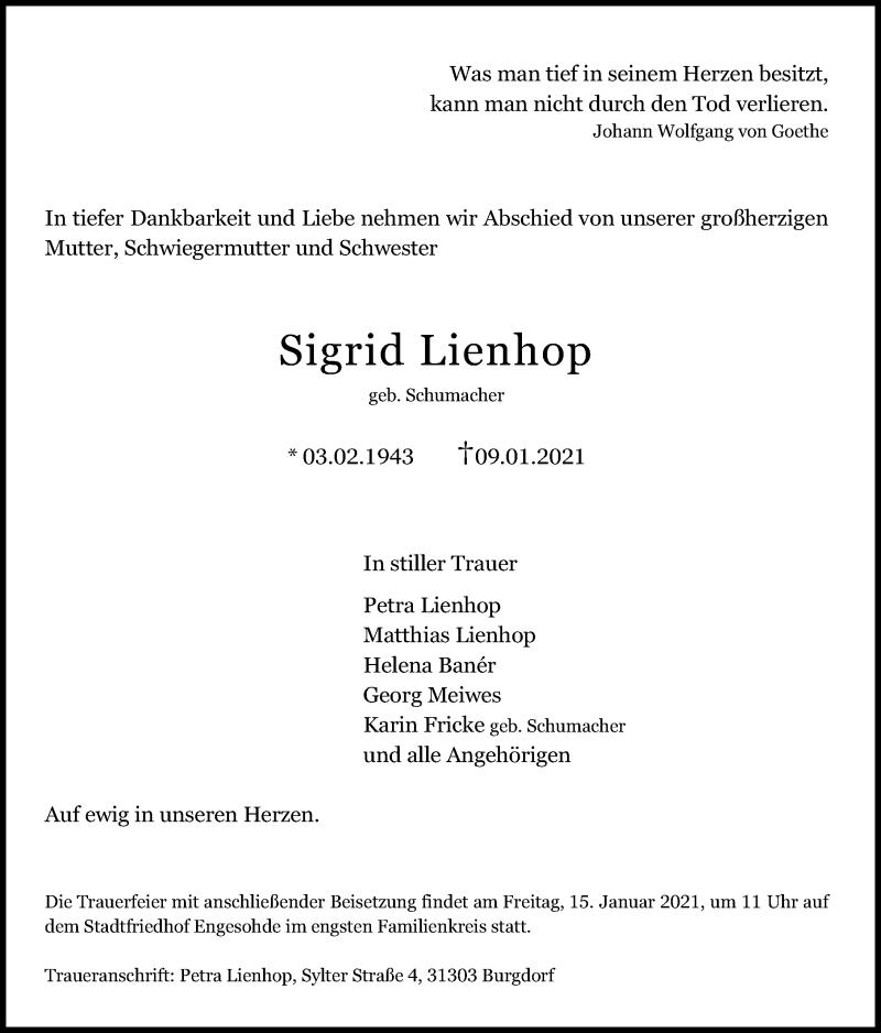 Traueranzeige für Sigrid Lienhop vom 13.01.2021 aus Hannoversche Allgemeine Zeitung/Neue Presse