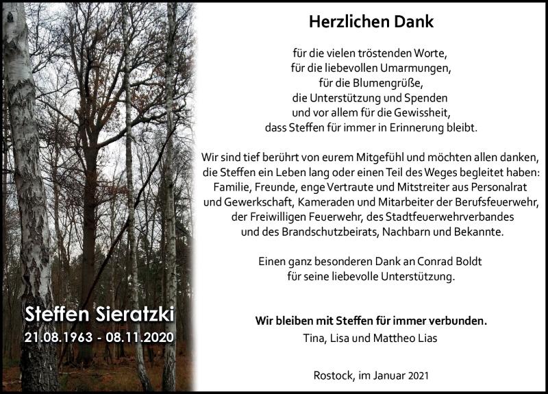 Traueranzeige für Steffen Sieratzki vom 16.01.2021 aus Ostsee-Zeitung GmbH