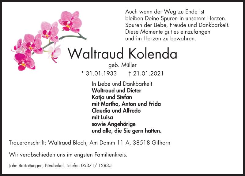 Traueranzeige von  Waltraud Kolenda