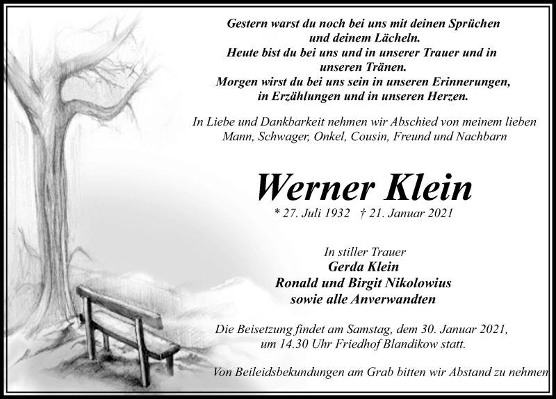 Traueranzeige von  Werner Klein