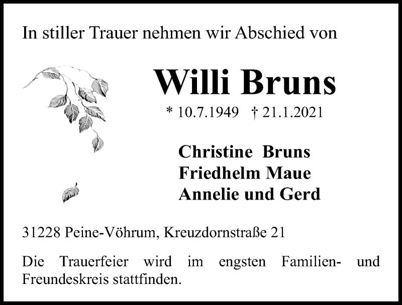 Traueranzeige von  Willi Bruns