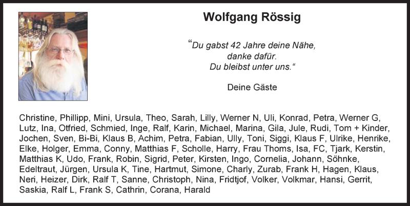 Traueranzeige für Wolfgang Rössig vom 02.01.2021 aus Hannoversche Allgemeine Zeitung/Neue Presse