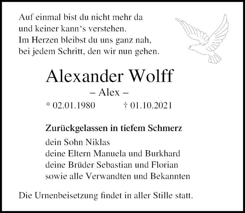Traueranzeige für Alexander Wolff vom 09.10.2021 aus Ostsee-Zeitung GmbH