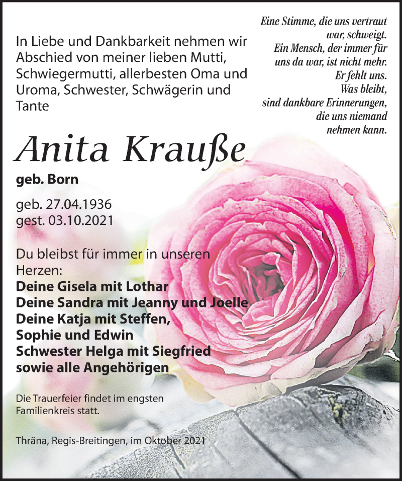 Traueranzeige für Anita Krauße vom 09.10.2021 aus Leipziger Volkszeitung