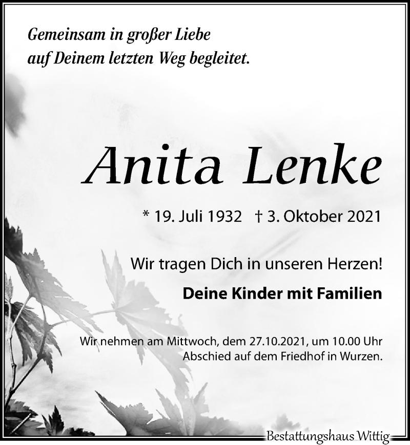 Traueranzeige für Anita Lenke vom 09.10.2021 aus Leipziger Volkszeitung