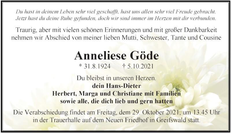 Traueranzeige für Anneliese Göde vom 09.10.2021 aus Ostsee-Zeitung GmbH