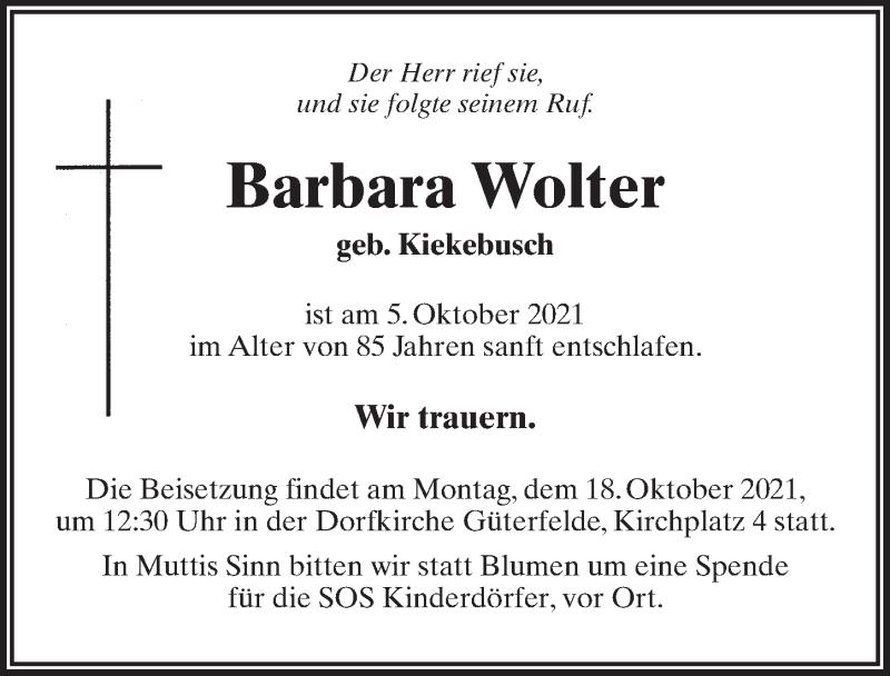 Traueranzeige für Barbara Wolter vom 09.10.2021 aus Märkischen Allgemeine Zeitung