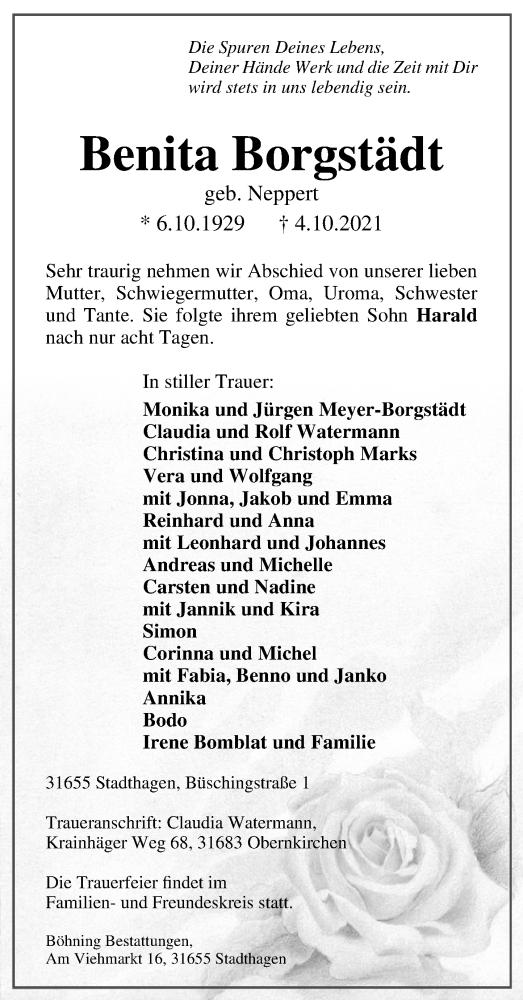 Traueranzeige für Benita Borgstädt vom 09.10.2021 aus Schaumburger Nachrichten