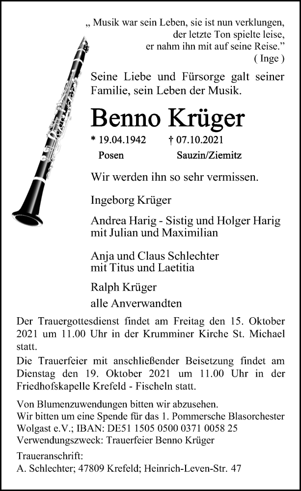 Traueranzeige für Benno  Krüger vom 12.10.2021 aus Ostsee-Zeitung GmbH