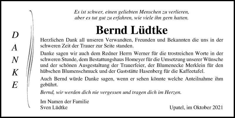 Traueranzeige für Bernd Lüdtke vom 23.10.2021 aus Ostsee-Zeitung GmbH