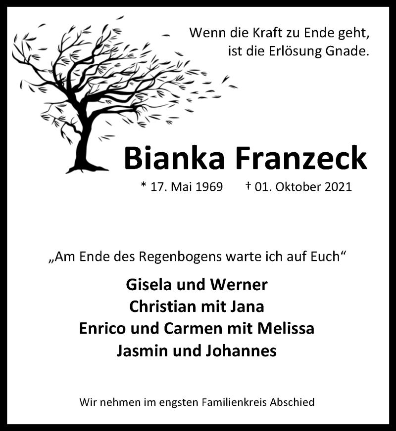 Traueranzeige für Bianka Franzeck vom 11.10.2021 aus Schaumburger Nachrichten