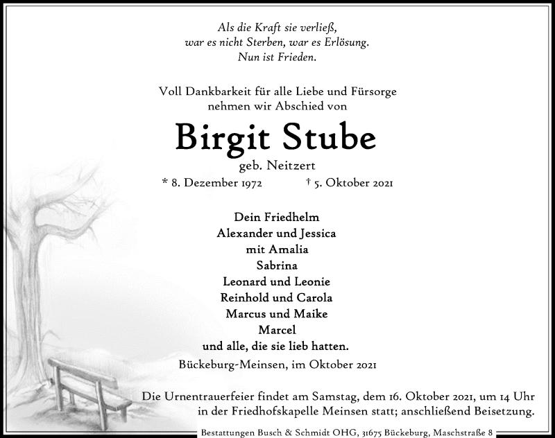 Traueranzeige für Birgit Stube vom 09.10.2021 aus Schaumburger Nachrichten