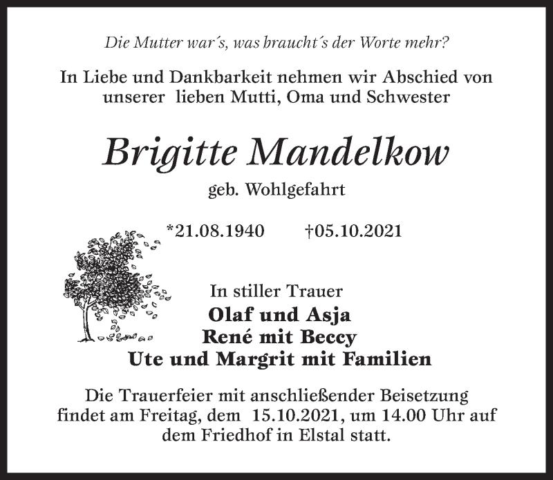Traueranzeige für Brigitte Mandelkow vom 09.10.2021 aus Märkischen Allgemeine Zeitung