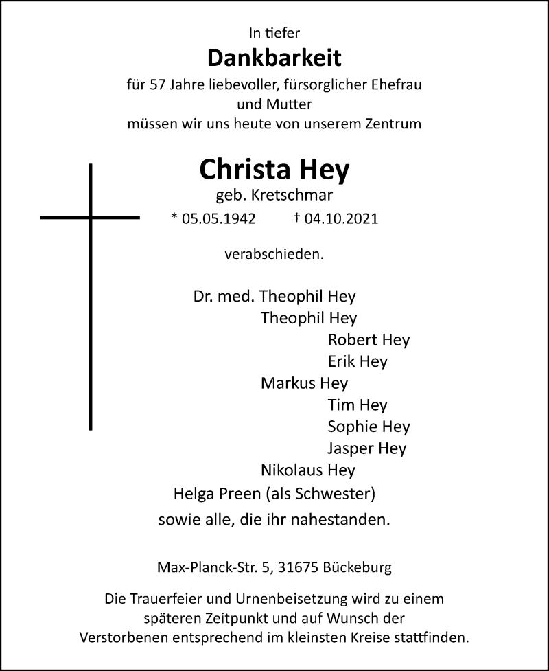 Traueranzeige für Christa Hey vom 09.10.2021 aus Schaumburger Nachrichten