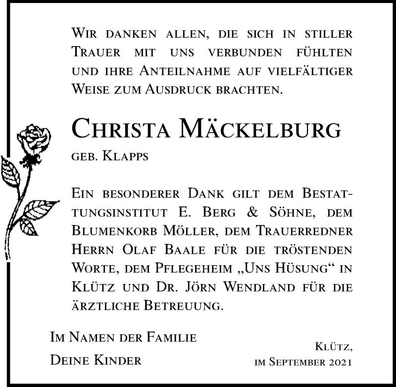 Traueranzeige für Christa Mäckelburg vom 14.10.2021 aus Ostsee-Zeitung GmbH