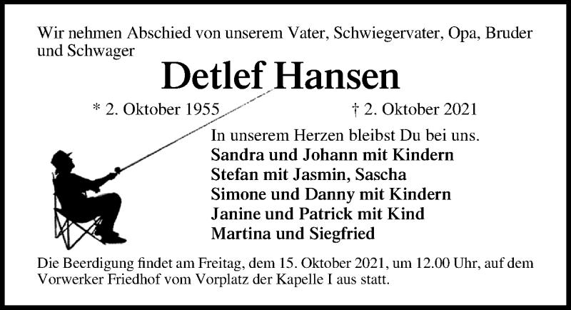 Traueranzeige für Detlef Hansen vom 13.10.2021 aus Lübecker Nachrichten